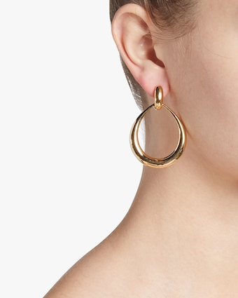 Gold Contoured Door Knocker Earrings