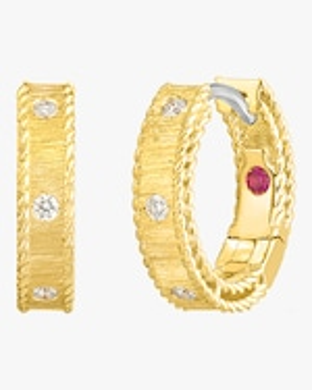 Roberto Coin Diamond Princess Huggie Hoop Earrings 0