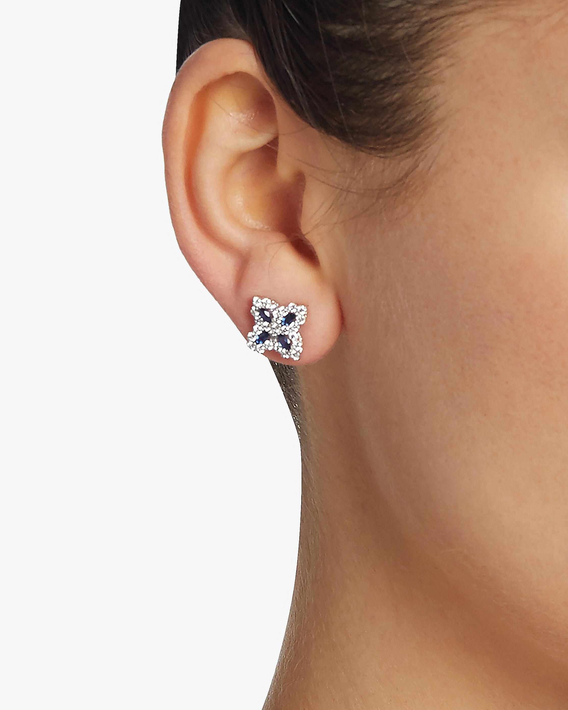 Roberto Coin Sapphire and Diamond Flower Earrings 1