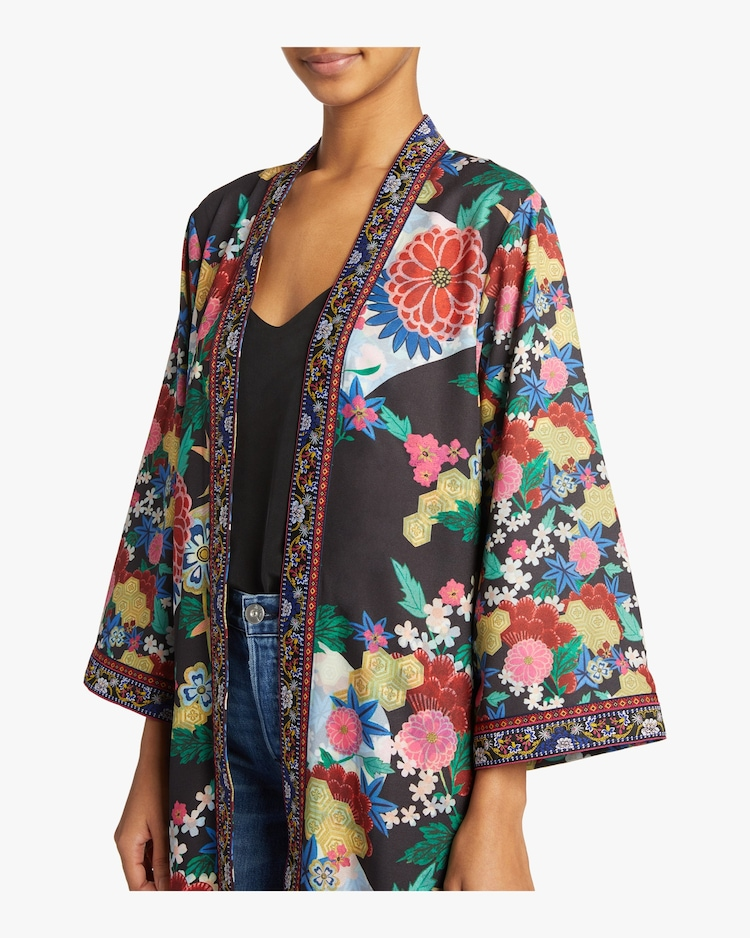 Lynn Side Slit Long Kimono Alice and Olivia